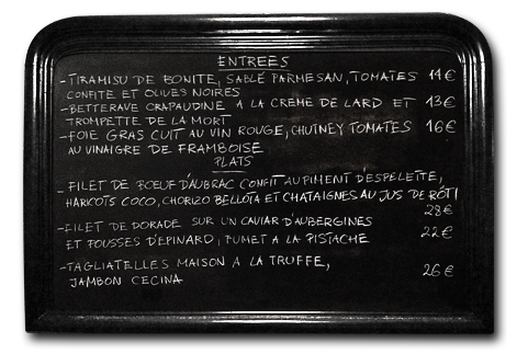 image entrées and main course blackboard menu 01